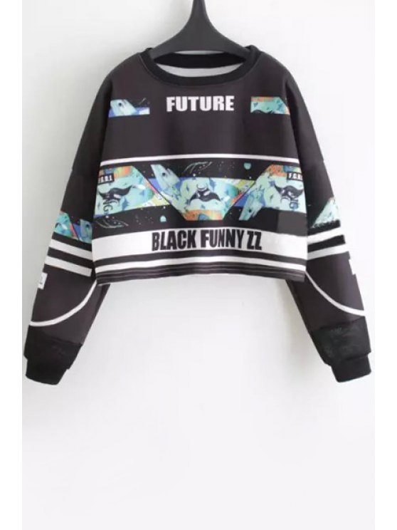 outfits Shark Print Loose-Fitting Crop Top - BLACK M