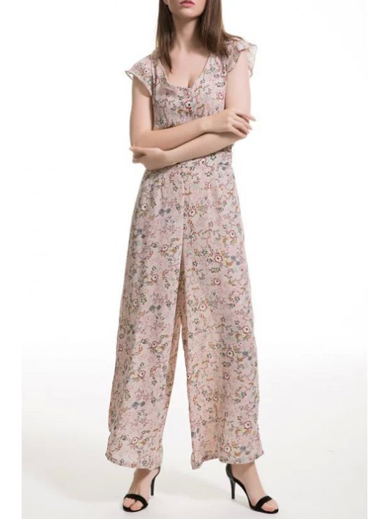 online Tiny Floral Print V Neck Jumpsuit - NUDE S