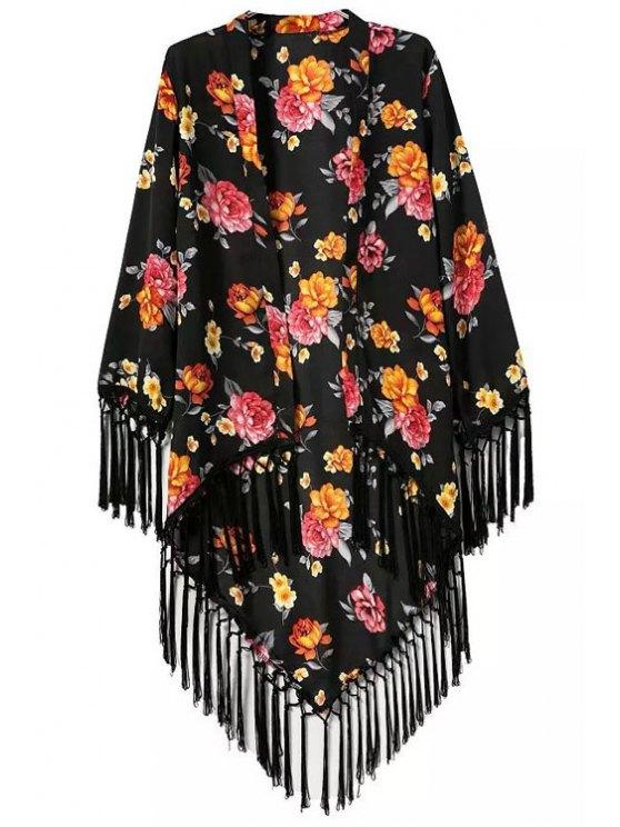 best Floral Printed Tassel Splicing Long Sleeve Kimono - BLACK S