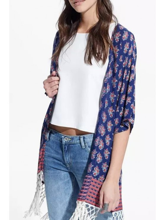 shops Tiny Floral Print Half Sleeves Kimono - PURPLISH BLUE ONE SIZE(FIT SIZE XS TO M)