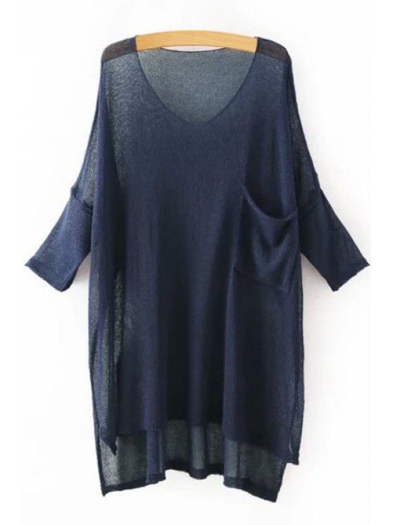 ladies FSolid Color Asymmetrical 3/4 Sleeve Sweater - CADETBLUE ONE SIZE(FIT SIZE XS TO M)