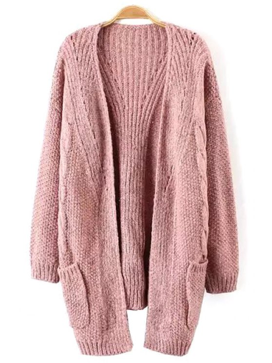 trendy Solid Color Two Pockets Long Cardigan - PINK ONE SIZE(FIT SIZE XS TO M)