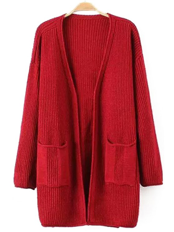 affordable Solid Color Pocket Design Long Cardigan - RED ONE SIZE(FIT SIZE XS TO M)