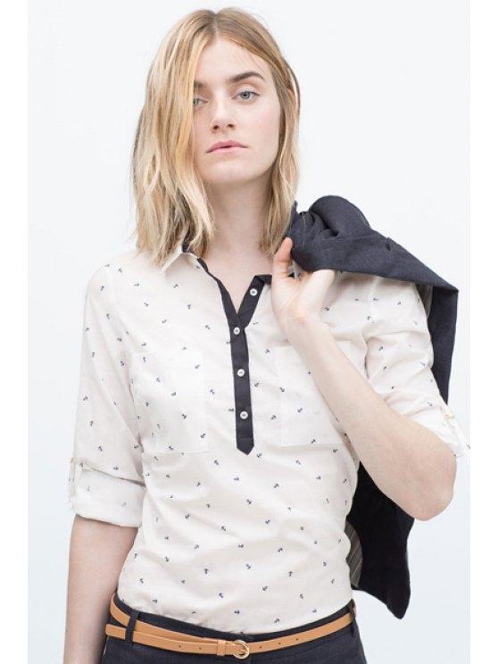latest Anchor Print Turn-Down Collar Shirt - OFF-WHITE S