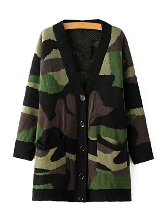 hot Camouflage Pattern Single-Breasted Jacquard Cardigan - GREEN ONE SIZE(FIT SIZE XS TO M)