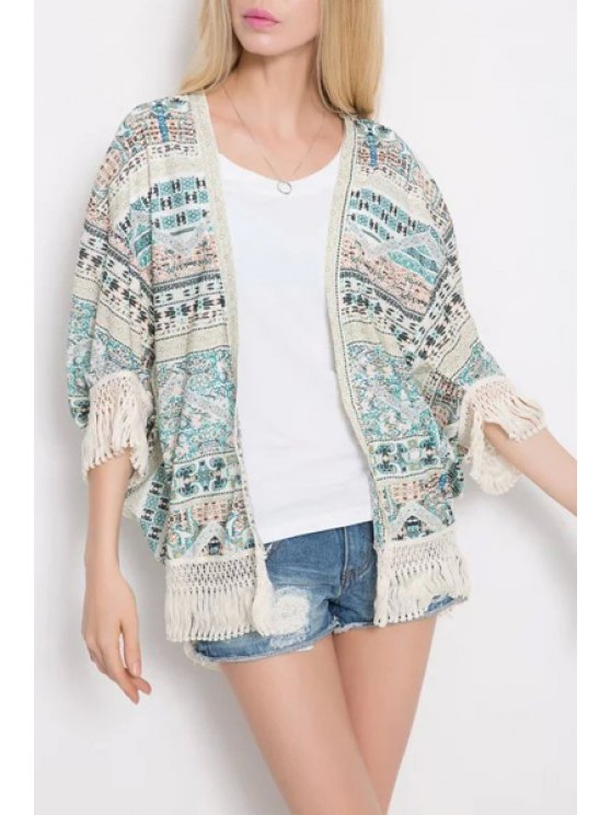 sale Ethnic Print 3/4 Sleeve Kimono - WHITE AND GREEN S