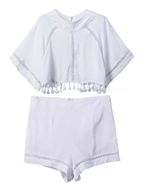 outfits Backless Tassel Splicing Crop Top + Shorts - WHITE S