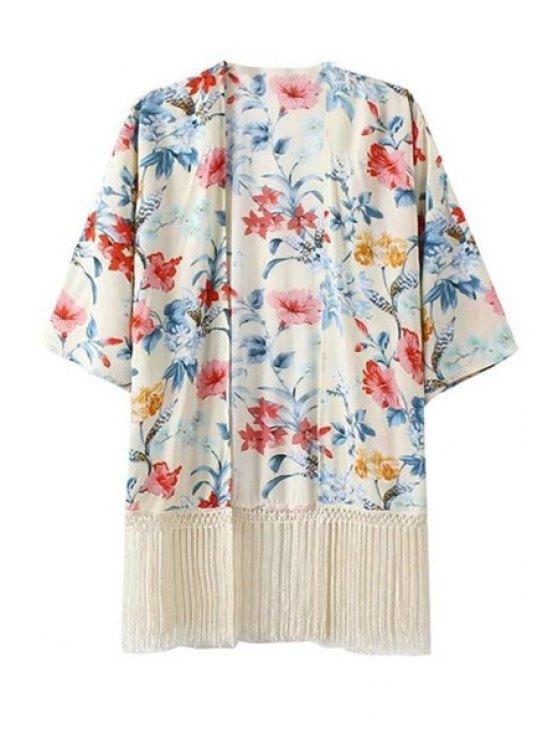 online Flower Print Half Sleeve Kimono - OFF-WHITE S