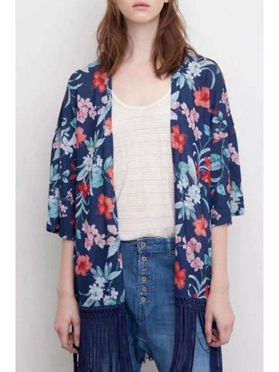 outfit Floral Print Half Sleeve Kimono - PURPLISH BLUE S