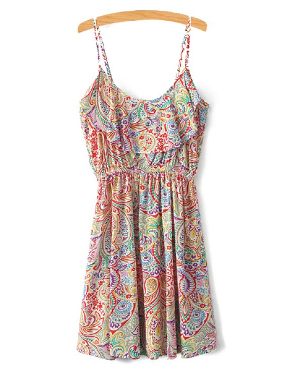 best Spaghetti Strap Colorful Printed Sleeveless Dress - COLORMIX XS