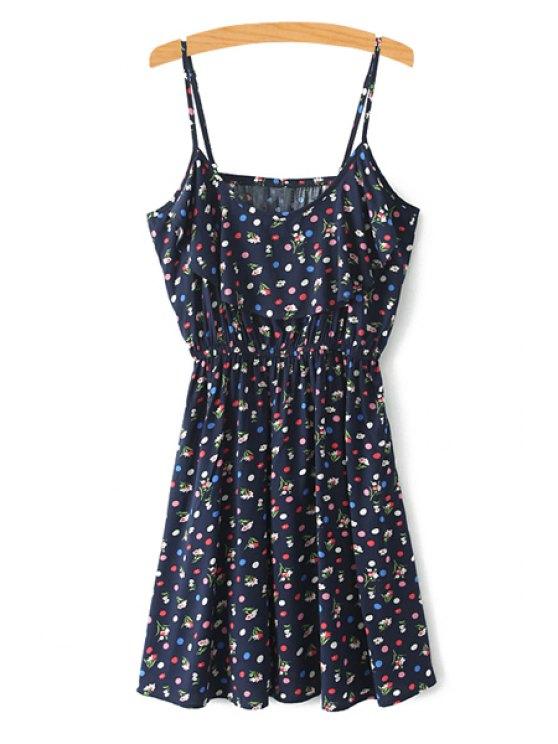 shop Spaghetti Strap Tiny Floral Printed Sleeveless Dress - COLORMIX XS