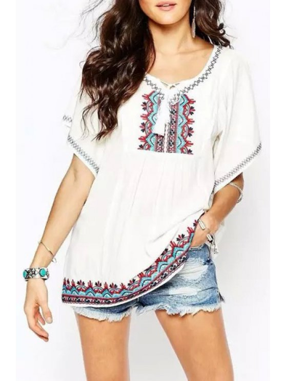 shops Embroidery Butterfly Sleeve Blouse - WHITE ONE SIZE(FIT SIZE XS TO M)