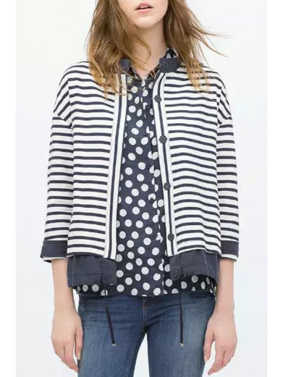ladies Striped Single-Breasted Drawstring Coat - WHITE S