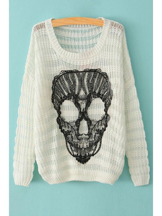 women Scoop Neck Skull Pattern Long Sleeve Sweater - WHITE XXS