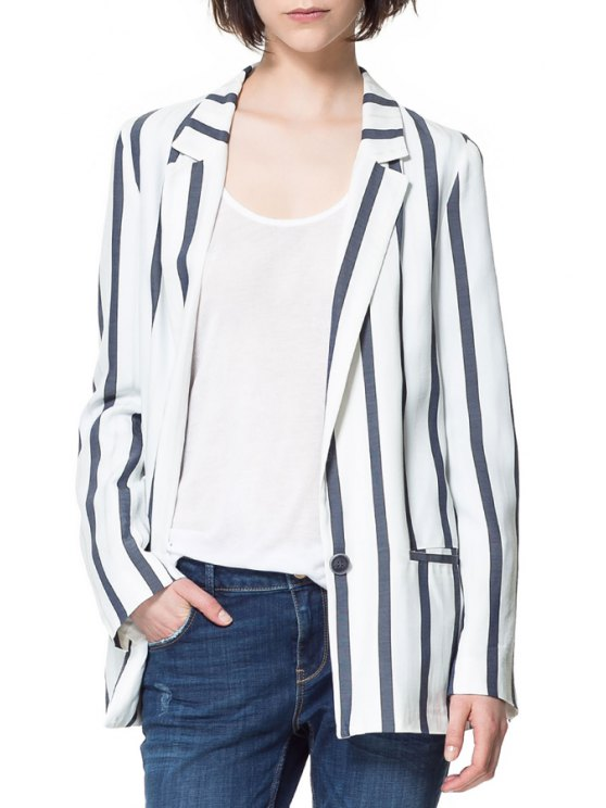 shops Vertical Stripes One Button Pocket Design Blazer - WHITE S