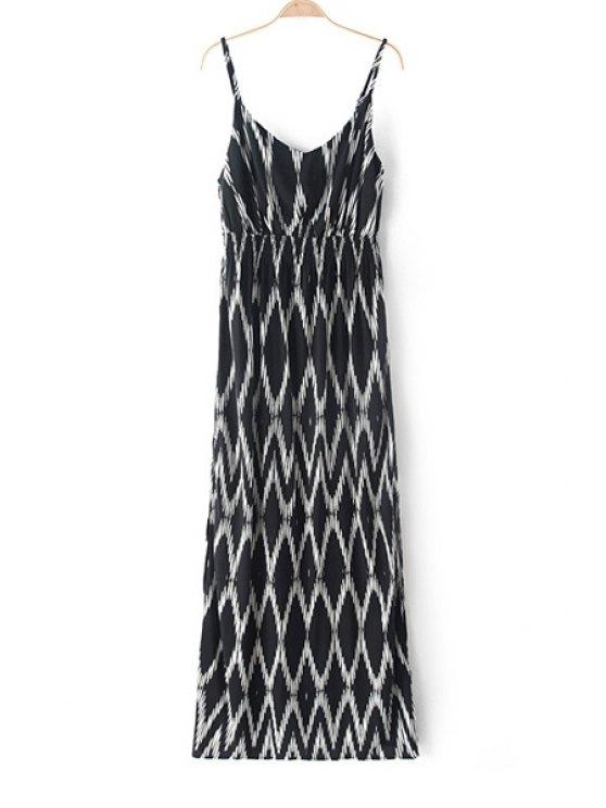 ladies Spaghetti Strap White Argyle Print Maxi Dress - WHITE AND BLACK XS