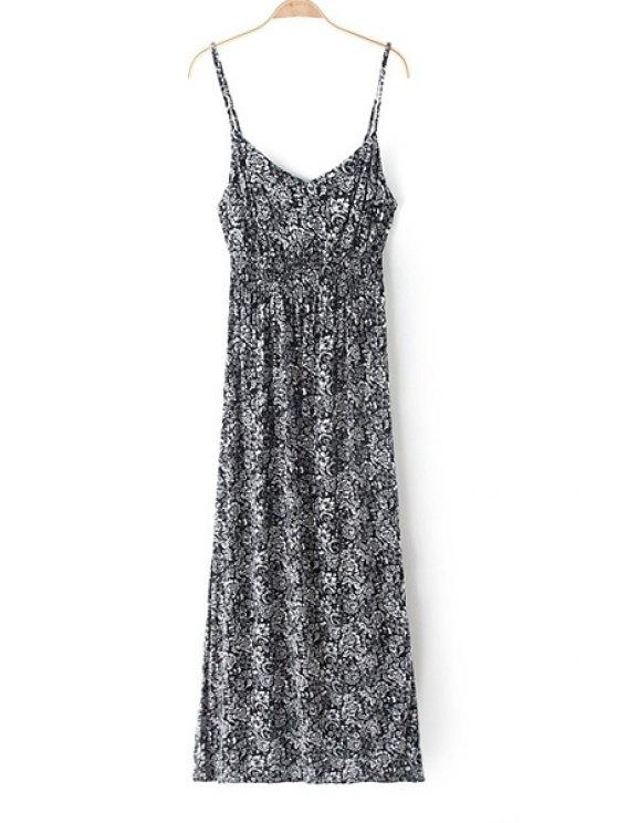 chic Spaghetti Strap Printed Sleeveless Maxi Dress - WHITE AND BLACK XS