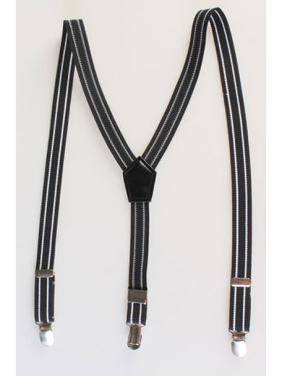 chic Stripe Pattern Suspenders - BLACK
