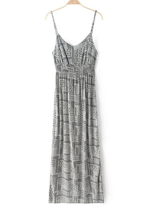 affordable Spaghetti Strap Printed Backless Sleeveless Maxi Dress - GREY AND WHITE XS
