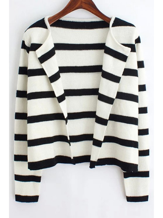 lady Black and White Long Sleeve Cardigan - WHITE AND BLACK ONE SIZE(FIT SIZE XS TO M)