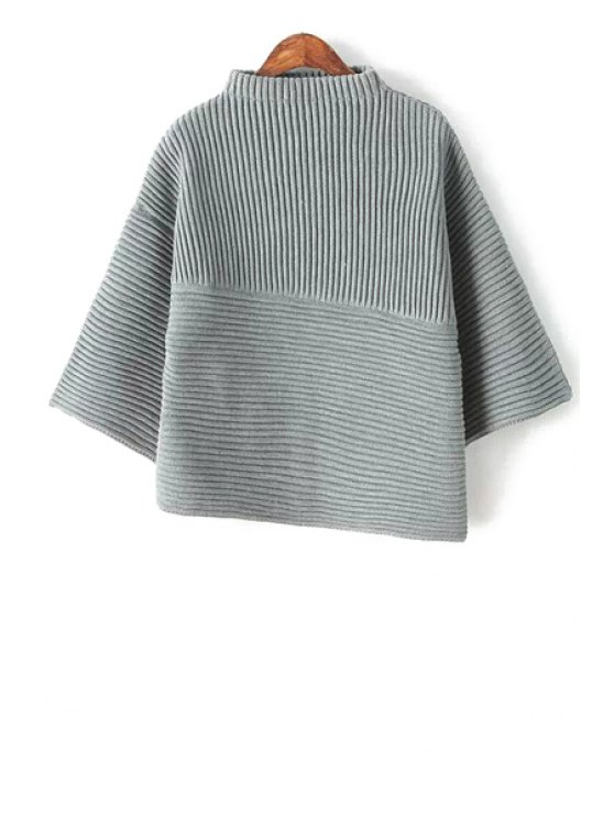womens Stand-Up Collar Solid Color Asymmetrical Sweater - GRAY ONE SIZE(FIT SIZE XS TO M)
