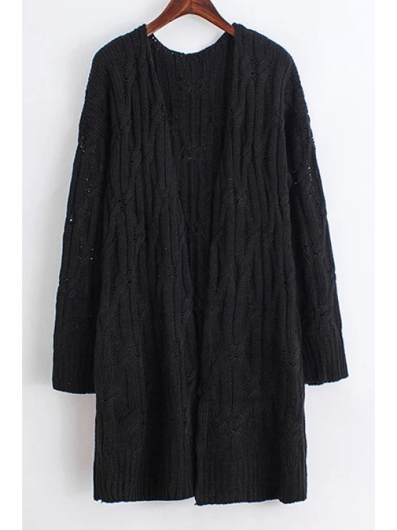 best Solid Color Collarless Long Sleeves Cardigan - BLACK ONE SIZE(FIT SIZE XS TO M)