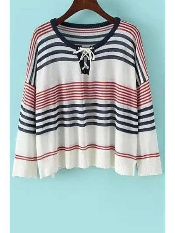 new Jewel Neck Stripe Tie-Up Long Sleeve Sweater - RED ONE SIZE(FIT SIZE XS TO M)