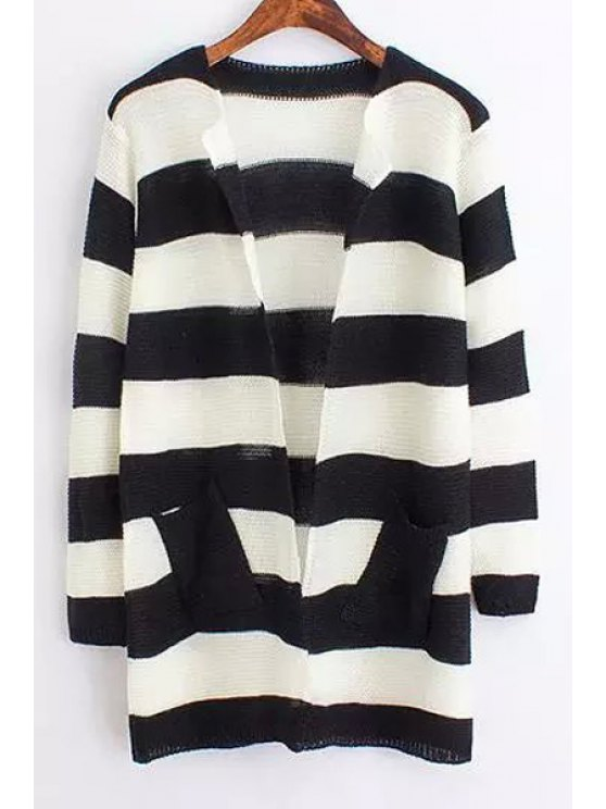 outfit Striped Long Sleeves Cardigan - BLACK ONE SIZE(FIT SIZE XS TO M)