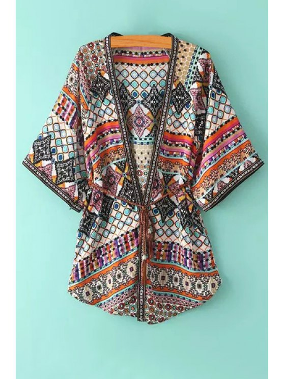 chic Colorful Polka Dot Printed 3/4 Sleeve Blouse - COLORMIX ONE SIZE(FIT SIZE XS TO M)