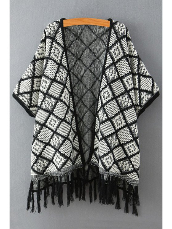 unique Checked Pattern Half Sleeve Cardigan - WHITE AND BLACK ONE SIZE(FIT SIZE XS TO M)