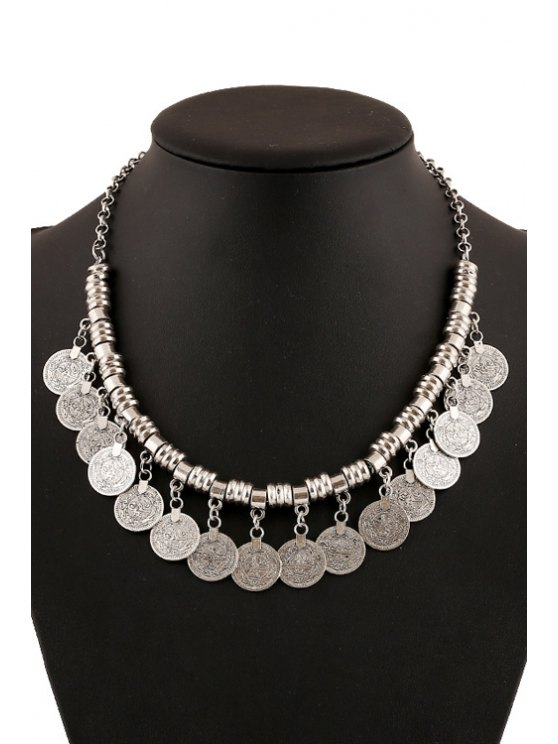 online Chic Coin Pendant Necklace For Women - SILVER
