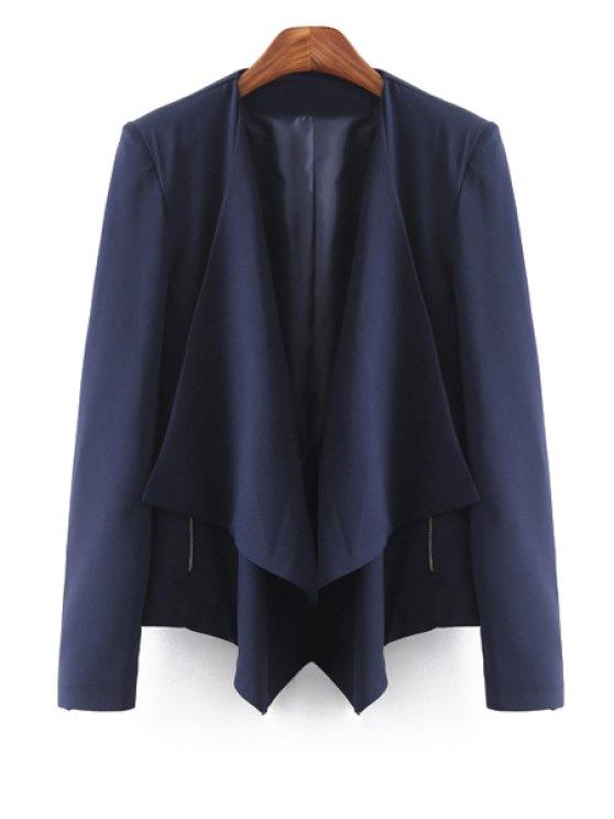 women Solid Color Turn Down Collar Long Sleeve Blazer - CADETBLUE S