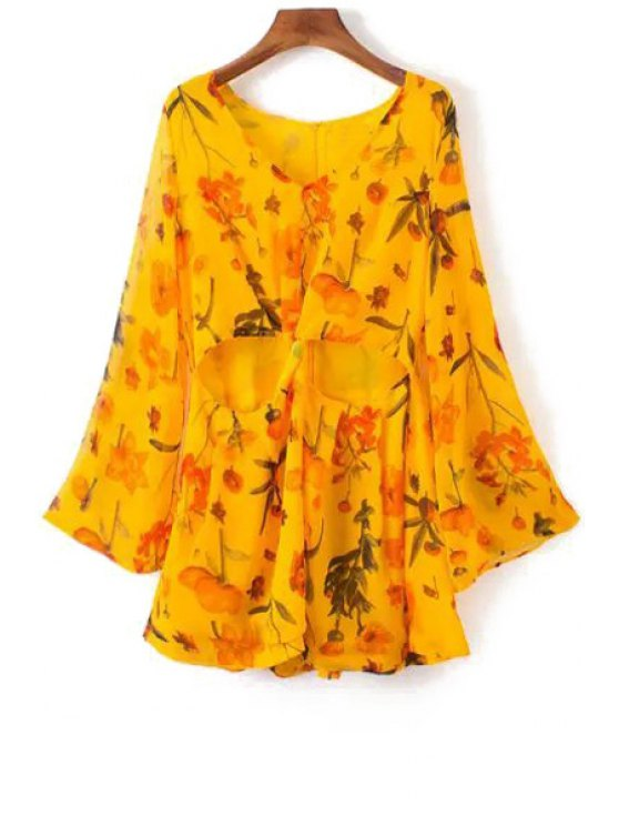 chic Floral Print Hollow Out Long Sleeve Romper - YELLOW S