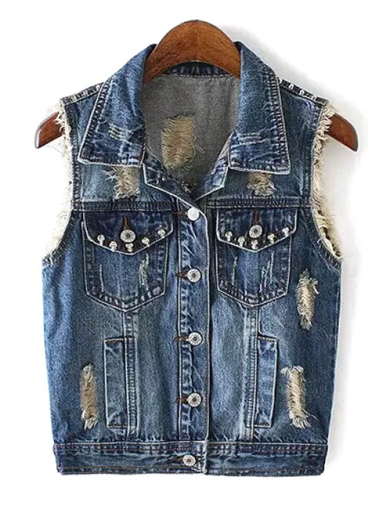 online Rivet Embellished Single-Breasted Denim Waistcoat - BLUE S