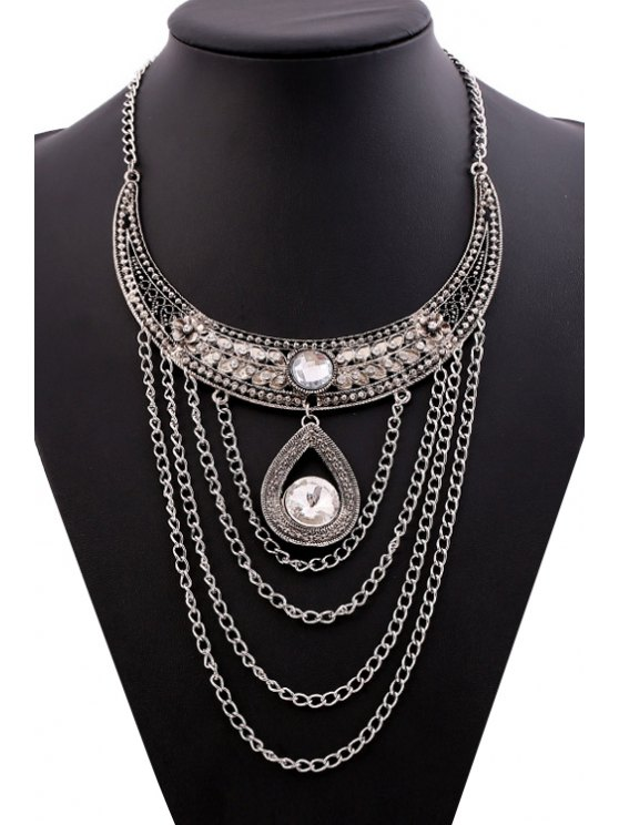 outfit Rhinestone Tassel Drop Necklace - SILVER