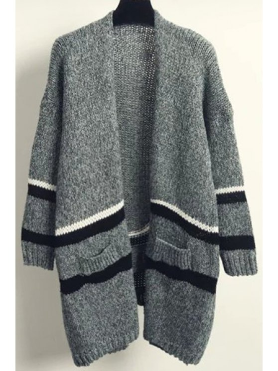 shop White Black Stripe Back Slit Long Sleeve Cardigan - GRASS GREEN ONE SIZE(FIT SIZE XS TO M)