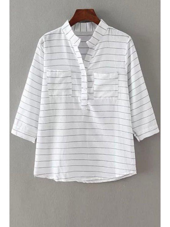 sale V-Neck Stripe Pocket 3/4 Sleeve Shirt - WHITE ONE SIZE(FIT SIZE XS TO M)