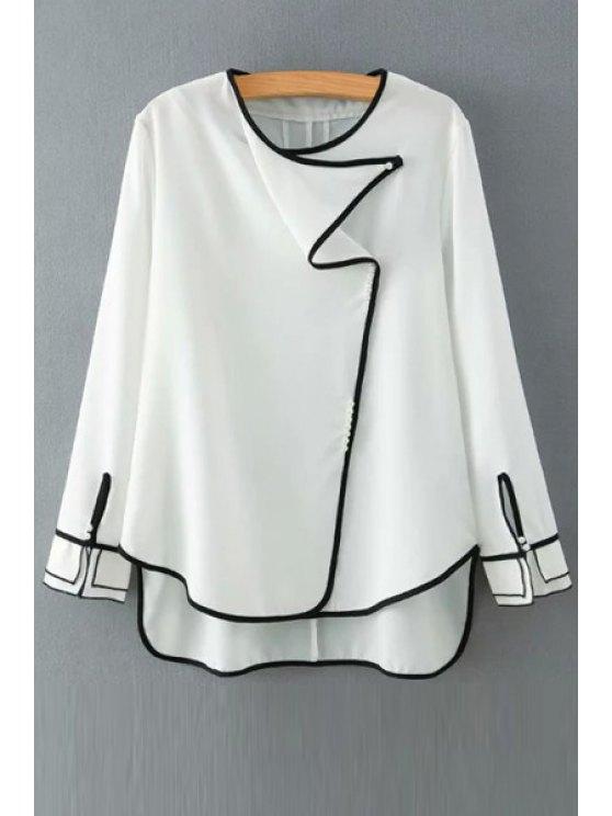 women Black Edging High Low Long Sleeve Shirt - WHITE S