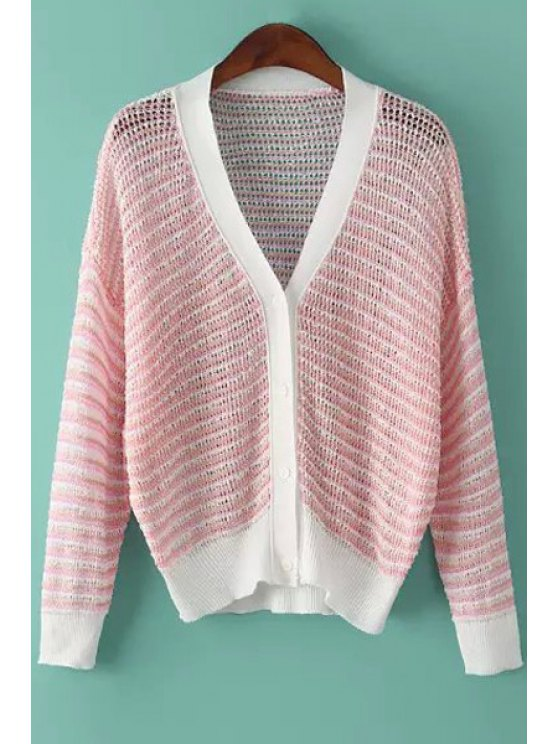 buy Stripe See-Through Long Sleeve Cardigan - PINK ONE SIZE(FIT SIZE XS TO M)
