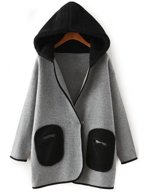 women Hooded Lamb Wool Pocket Long Sleeve Cardigan - GRAY ONE SIZE(FIT SIZE XS TO M)