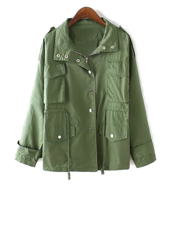 new Solid Color Turn Down Collar Long Sleeve Trench - ARMY GREEN S