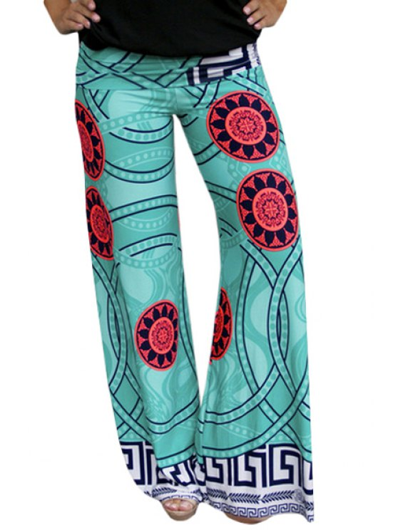 chic Printed Wide Leg Exumas Pants - GREEN S