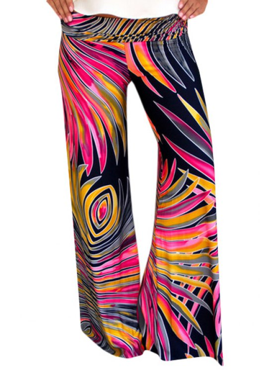 outfits Abstract Print  Wide Leg Exumas Pants - RED L
