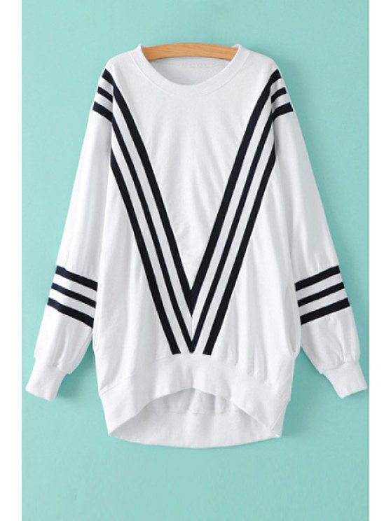hot Color Block Stripe Long Sleeve Sweatshirt - WHITE ONE SIZE(FIT SIZE XS TO M)