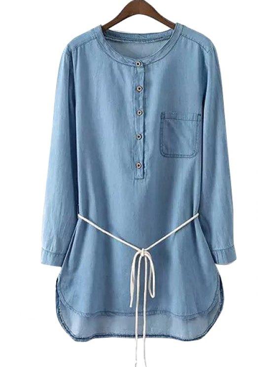 outfits Long Sleeve Light Blue Denim Dress - LIGHT BLUE S