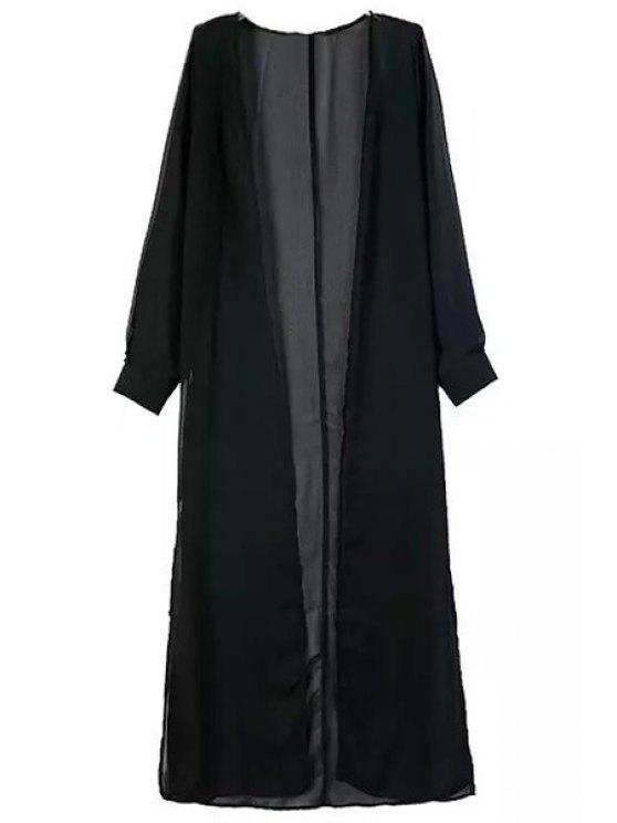 lady Solid Color High Slit Long Sleeve Blouse - BLACK S