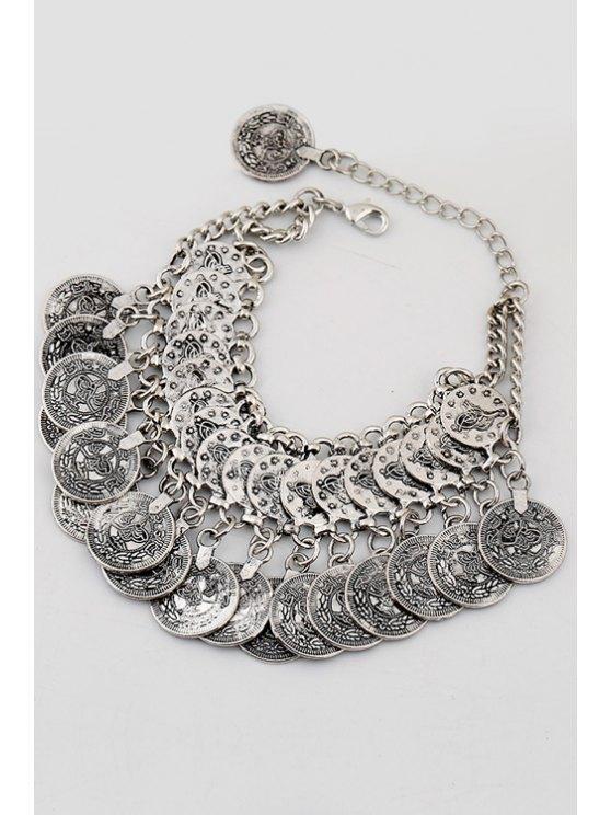 Coin Pendant Bracelet - SILVER  Mobile