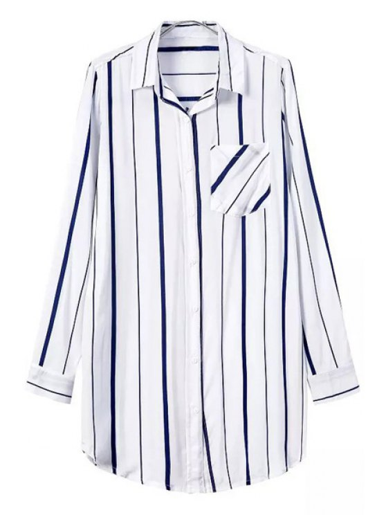 latest White Blue Stripe Long Sleeve Shirt - WHITE S