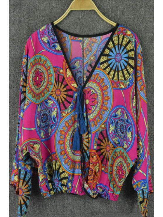 chic Ethnic Pattern Lace-Up Colored Blouse - ROSE ONE SIZE(FIT SIZE XS TO M)