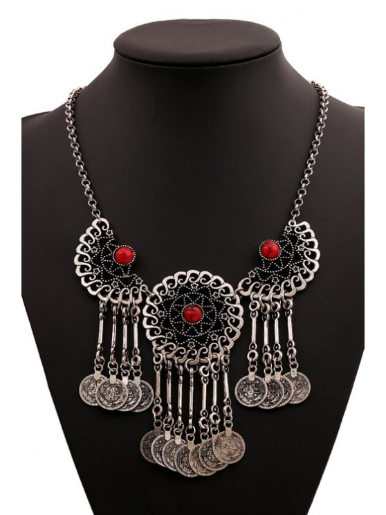 affordable Coin Tassel Pendant Necklace - RED